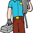 Stock Vector: Man working at home