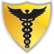 Caduceus Medical Symbol with Shield — Stock Vector #3986036
