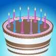 Birthday Cake and Candles - Stock Vector