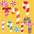 Stock Vector: Candy Cane Set