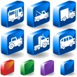 Trucks 3D Button Set — Stock Vector