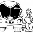 Auto Mechanic Car Hood — Vector de stock #3986206