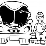 capot de voiture mecanicien auto — Vecteur