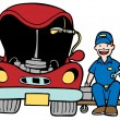 Auto Mechanic Car Hood — Vector de stock #3986213