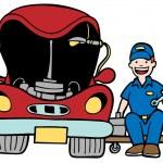 Auto Mechanic Car Hood — Stock Vector