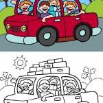 Car Trip — Stock Vector