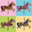 Carousel Horse Set - Stock Vector
