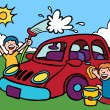 Kids washing car. — Stock Vector