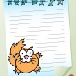 Stock Vector: Cat with Birds Notepad