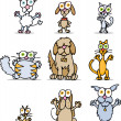 Vector de stock : Cartoon Cats and Dogs