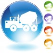 Cement Truck Crystal Icon - Stock Vector