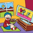 Kid watching TV — Stock Vector