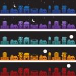 Building Banner Night — Stock Vector