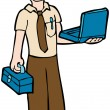 Stock Vector: Computer Technician