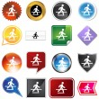 Crosswalk Icon Set — Stock Vector