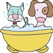 Dog and Cat Bath - Stock Vector