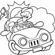 Convertible Car Line Art - Stock Vector