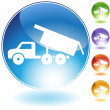 Dump Truck Crystal Icon - Stock Vector