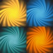 Set of 4 Energy Spiral Bursts - Stok Vektör