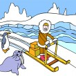 Eskimo Sled Ride - Stock Vector