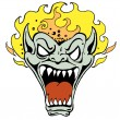 Monster Face with Flame - Stock Vector