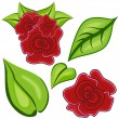 Cartoon Rose Leaf Icon Set — Stock Vector