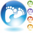 Stock Vector: Footprint Walking Crystal Icon