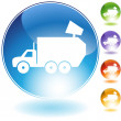 Garbage Truck Crystal Icon — Stock Vector