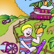 Stock Vector: Kid Adventures: Picking Peaches in Georgia