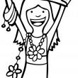 fille tient signe vierge — Vecteur