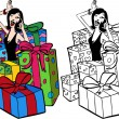 Woman Surrounded By Presents — Stock Vector #3988157