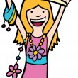 Royalty-Free Stock Imagen vectorial: Girl Holds Blank Sign