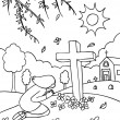 Cemetery Praying - Stock Vector
