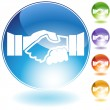 Handshake Crystal Icon - Stock Vector