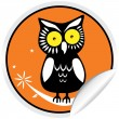 Halloween Owl Sticker - Stock Vector