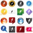High Voltage Icon Set - Stock Vector