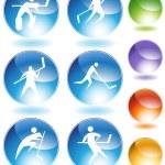 Hockey Stick Figure Crystal Set — Stock Vector