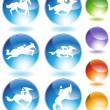 Horse Icon Crystal Set — Stock Vector