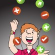 Stock Vector: Juggling Web Developer