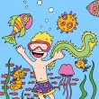 Royalty-Free Stock Vector Image: Child goes snorkeling