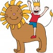 Child on Lion - Stock Vector