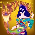 Lady Magic Trick — Stock Vector