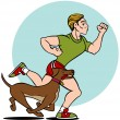 Stock Vector: Man Running with Dog
