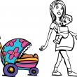 Royalty-Free Stock Vector Image: Mom with Baby and Stroller