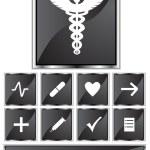 Black Satin - Medical Icons - Square — Stock Vector