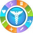 Healthcare Wheel - Simple — Vector de stock #3989419