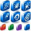 Stock Vector: Microscopic Icons