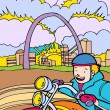 Royalty-Free Stock Vector Image: Kid Adventures: Motorcycle Ride in St. Louis