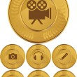 Multimedia Buttons - Gold Coin - Stock Vector