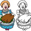 Mom serving turkey — Stock Vector #3989549